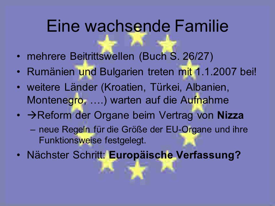 Eine wachsende Familie mehrere Beitrittswellen (Buch S. 26/27) Rumänien und Bulgarien treten mit 1.1.2007 bei! weitere Länder (Kroatien, Türkei, Alban