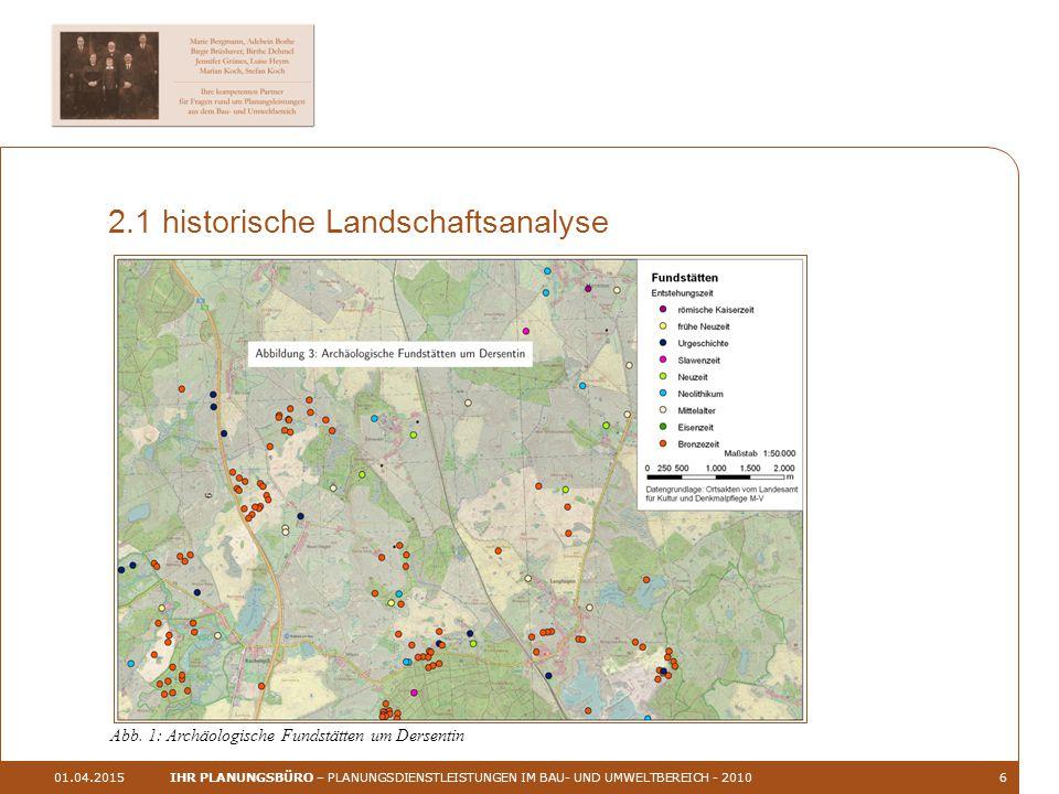 01.04.2015IHR PLANUNGSBÜRO – PLANUNGSDIENSTLEISTUNGEN IM BAU- UND UMWELTBEREICH - 20106 2.1 historische Landschaftsanalyse Abb.