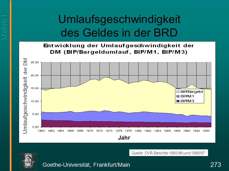 Goethe-Universität, Frankfurt/Main 273 Umlaufsgeschwindigkeit des Geldes in der BRD Quelle: SVR-Berichte 1995/96 und 1996/97 Umlaufgeschwindigkeit der DM Jahr