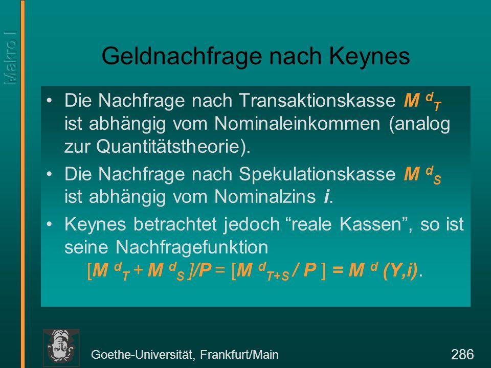 Goethe-Universität, Frankfurt/Main 286 Geldnachfrage nach Keynes Die Nachfrage nach Transaktionskasse M d T ist abhängig vom Nominaleinkommen (analog zur Quantitätstheorie).