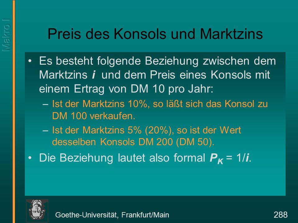 Goethe-Universität, Frankfurt/Main 288 Preis des Konsols und Marktzins Es besteht folgende Beziehung zwischen dem Marktzins i und dem Preis eines Konsols mit einem Ertrag von DM 10 pro Jahr: –Ist der Marktzins 10%, so läßt sich das Konsol zu DM 100 verkaufen.