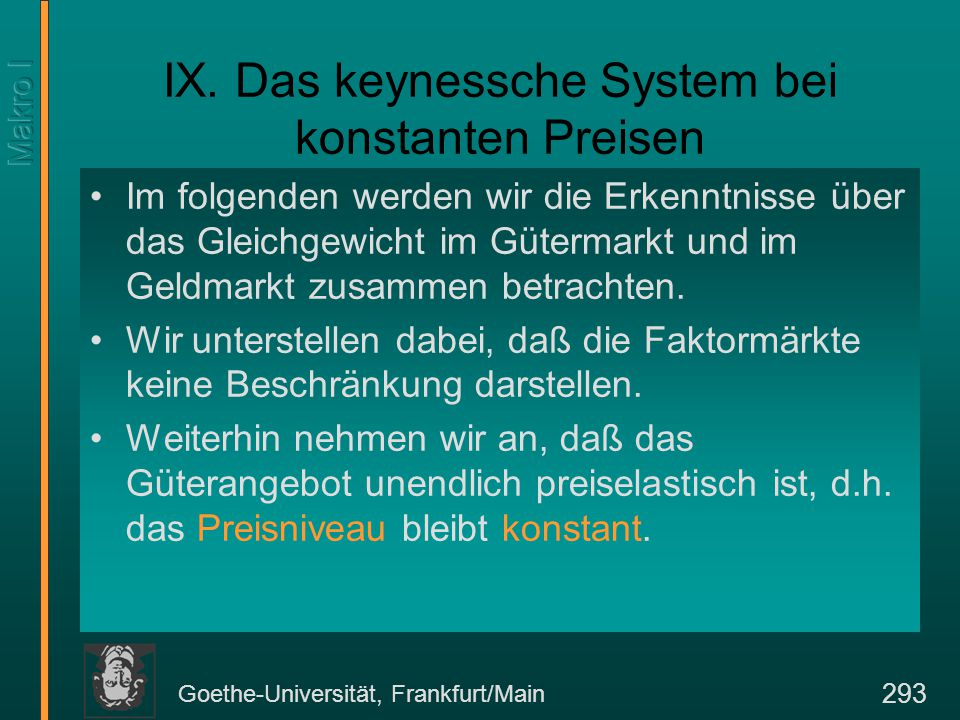 Goethe-Universität, Frankfurt/Main 293 IX.