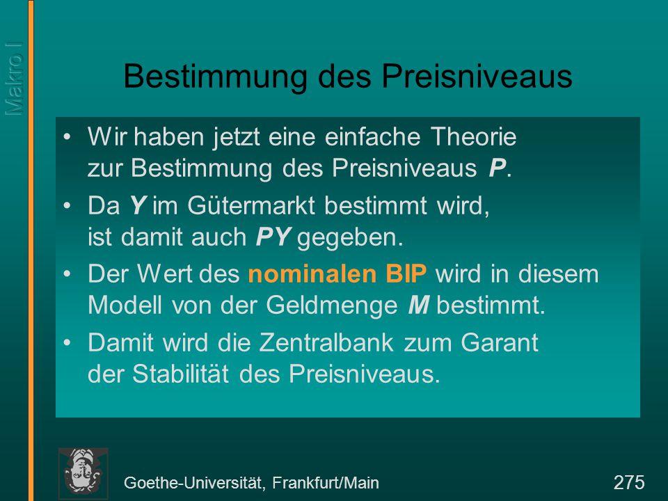 Goethe-Universität, Frankfurt/Main 296 Das keynessche Kreuz Y d = C(Y-T) + I + G Einkommen = Produktion YdYd YsYs Geplante Ausgaben = Nachfrage Tatsächliche = Geplante Ausgaben Y s = Y d 45° Gleichgewichts- einkommen Y*