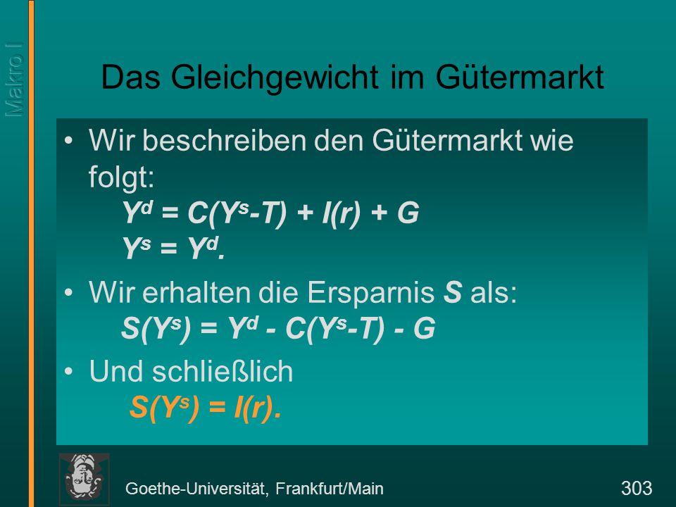 Goethe-Universität, Frankfurt/Main 303 Das Gleichgewicht im Gütermarkt Wir beschreiben den Gütermarkt wie folgt: Y d = C(Y s -T) + I(r) + G Y s = Y d.