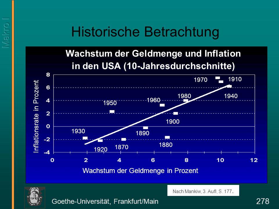 Goethe-Universität, Frankfurt/Main 279 Noch einmal: Fisher-Effekt Wir haben bereits früher die Beziehung zwischen Realzins r, Inflationsrate  und Nominalzins i kennengelernt (Fisher-Effekt).