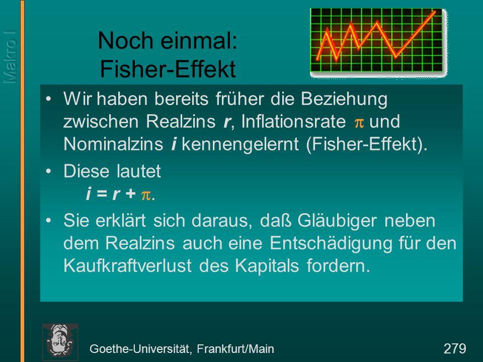 Goethe-Universität, Frankfurt/Main 280 Nominalzinsen und Inflationsrate Entwicklung der Zinsen (kurzfristig) und des BIP-Deflators in der BRD Prozent gegenüber dem Vorjahr Zinsen Deflator