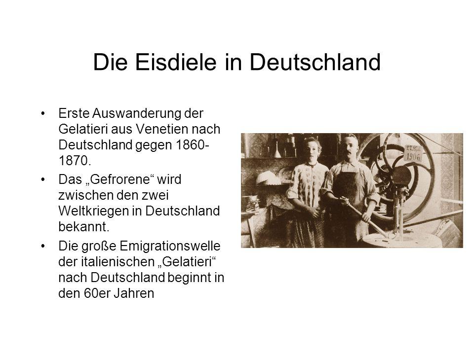 """Die Eisdiele in Deutschland Erste Auswanderung der Gelatieri aus Venetien nach Deutschland gegen 1860- 1870. Das """"Gefrorene"""" wird zwischen den zwei We"""