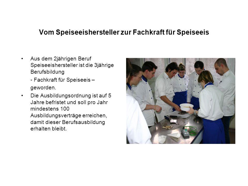 Vom Speiseeishersteller zur Fachkraft für Speiseeis Aus dem 2jährigen Beruf Speiseeishersteller ist die 3jährige Berufsbildung - Fachkraft für Speisee