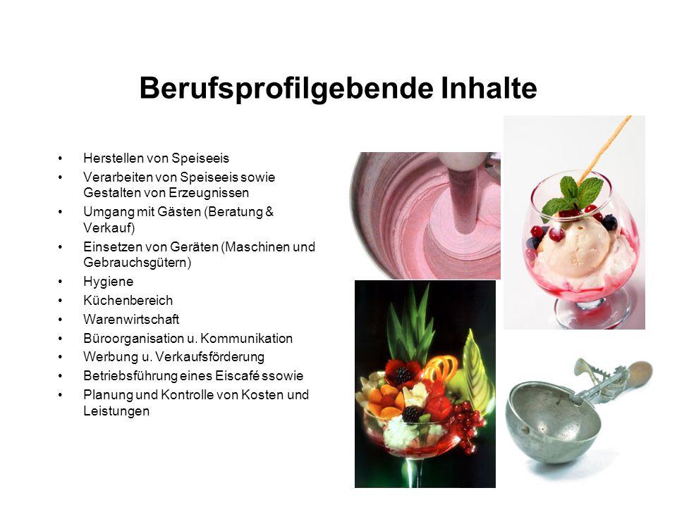 Berufsprofilgebende Inhalte Herstellen von Speiseeis Verarbeiten von Speiseeis sowie Gestalten von Erzeugnissen Umgang mit Gästen (Beratung & Verkauf)
