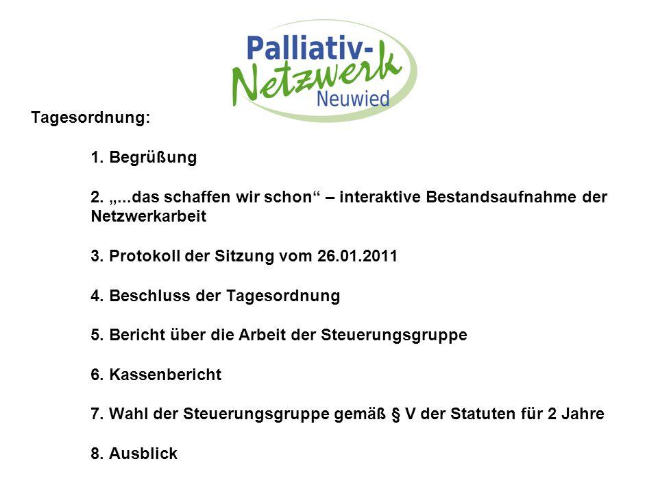 """Tagesordnung: 1. Begrüßung 2. """"...das schaffen wir schon"""" – interaktive Bestandsaufnahme der Netzwerkarbeit 3. Protokoll der Sitzung vom 26.01.2011 4."""