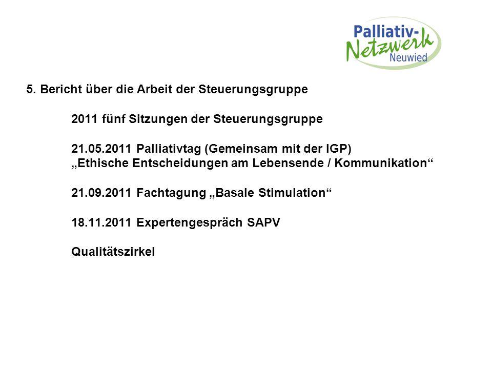 """5. Bericht über die Arbeit der Steuerungsgruppe 2011 fünf Sitzungen der Steuerungsgruppe 21.05.2011 Palliativtag (Gemeinsam mit der IGP) """"Ethische Ent"""