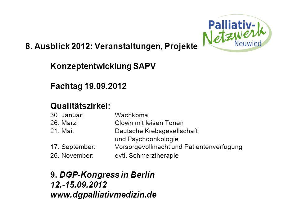 8. Ausblick 2012: Veranstaltungen, Projekte Konzeptentwicklung SAPV Fachtag 19.09.2012 Qualitätszirkel: 30. Januar: Wachkoma 26. März: Clown mit leise