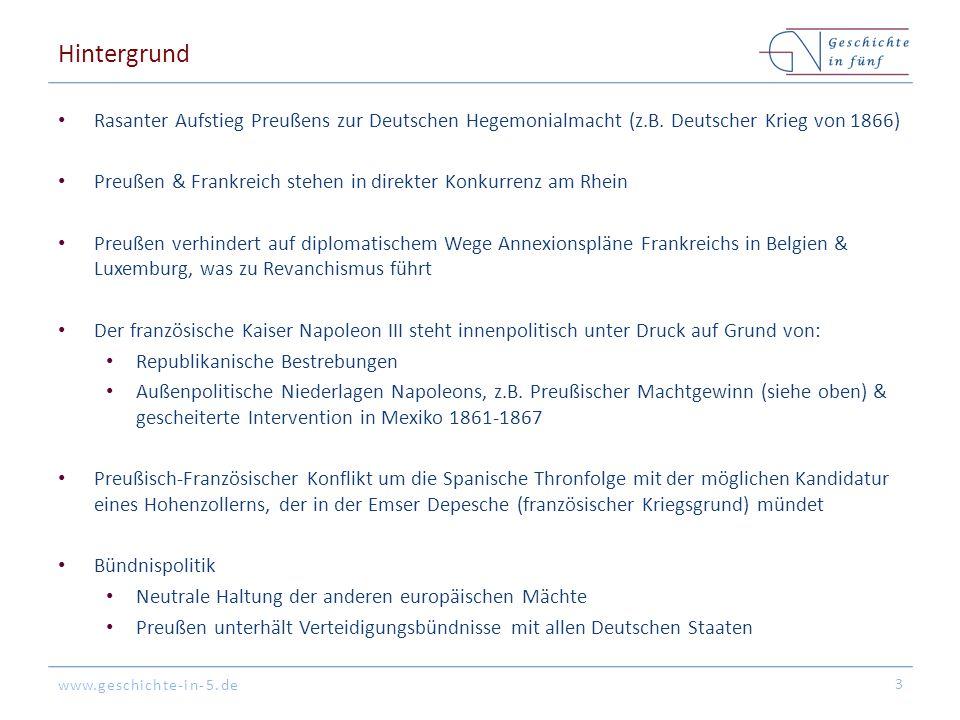 www.geschichte-in-5.de Hintergrund Rasanter Aufstieg Preußens zur Deutschen Hegemonialmacht (z.B.