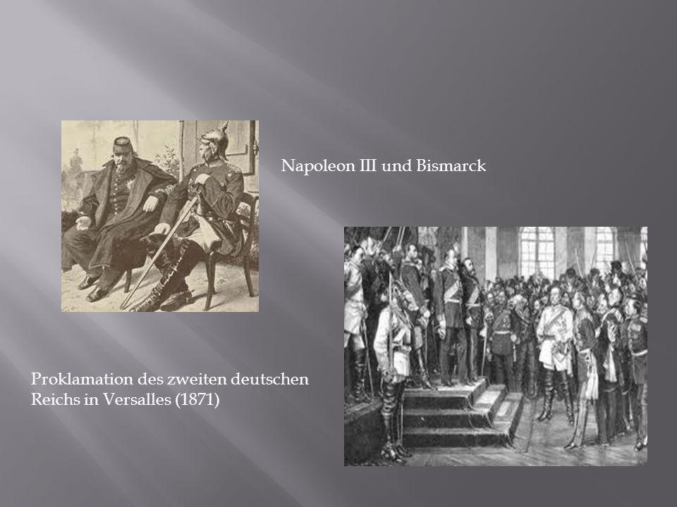 Napoleon III und Bismarck Proklamation des zweiten deutschen Reichs in Versalles (1871)