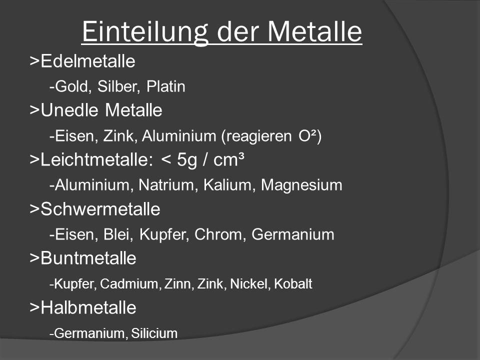 Einteilung der Metalle >Edelmetalle -Gold, Silber, Platin >Unedle Metalle -Eisen, Zink, Aluminium (reagieren O²) >Leichtmetalle: < 5g / cm³ -Aluminium