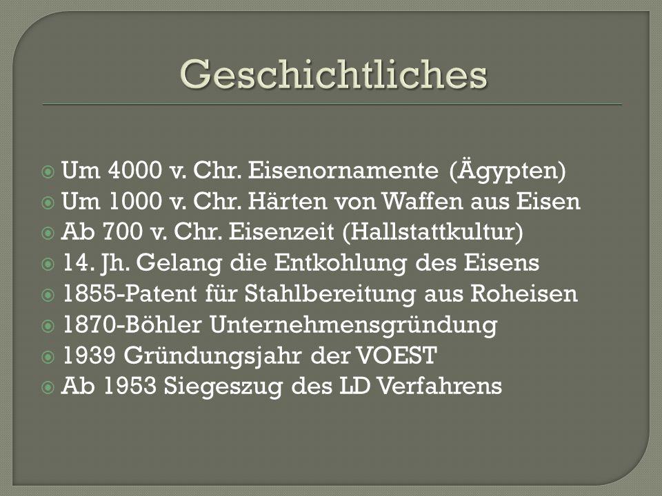  Um 4000 v. Chr. Eisenornamente (Ägypten)  Um 1000 v. Chr. Härten von Waffen aus Eisen  Ab 700 v. Chr. Eisenzeit (Hallstattkultur)  14. Jh. Gelang