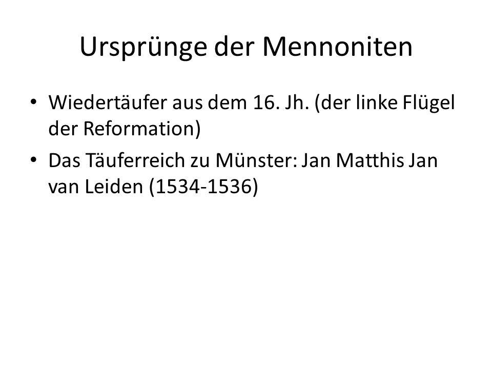 Ursprünge der Mennoniten Wiedertäufer aus dem 16. Jh. (der linke Flügel der Reformation) Das Täuferreich zu Münster: Jan Matthis Jan van Leiden (1534-