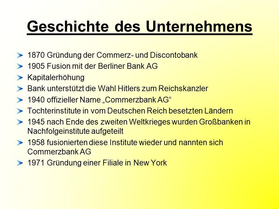 Geschichte des Unternehmens 1870 Gründung der Commerz- und Discontobank 1905 Fusion mit der Berliner Bank AG Kapitalerhöhung Bank unterstützt die Wahl