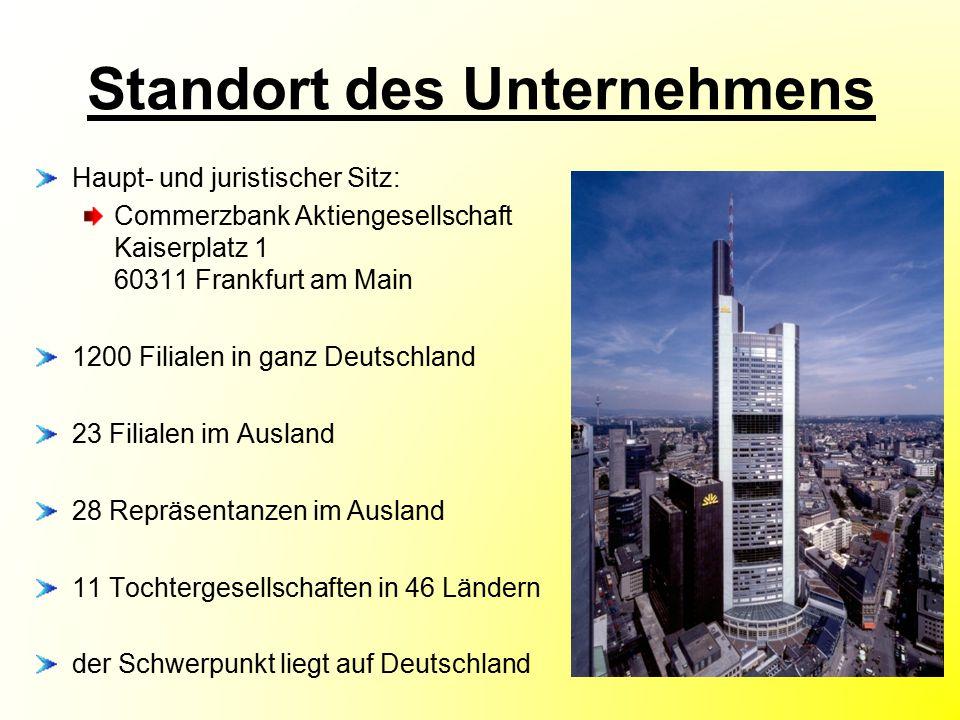Standort des Unternehmens Haupt- und juristischer Sitz: Commerzbank Aktiengesellschaft Kaiserplatz 1 60311 Frankfurt am Main 1200 Filialen in ganz Deu