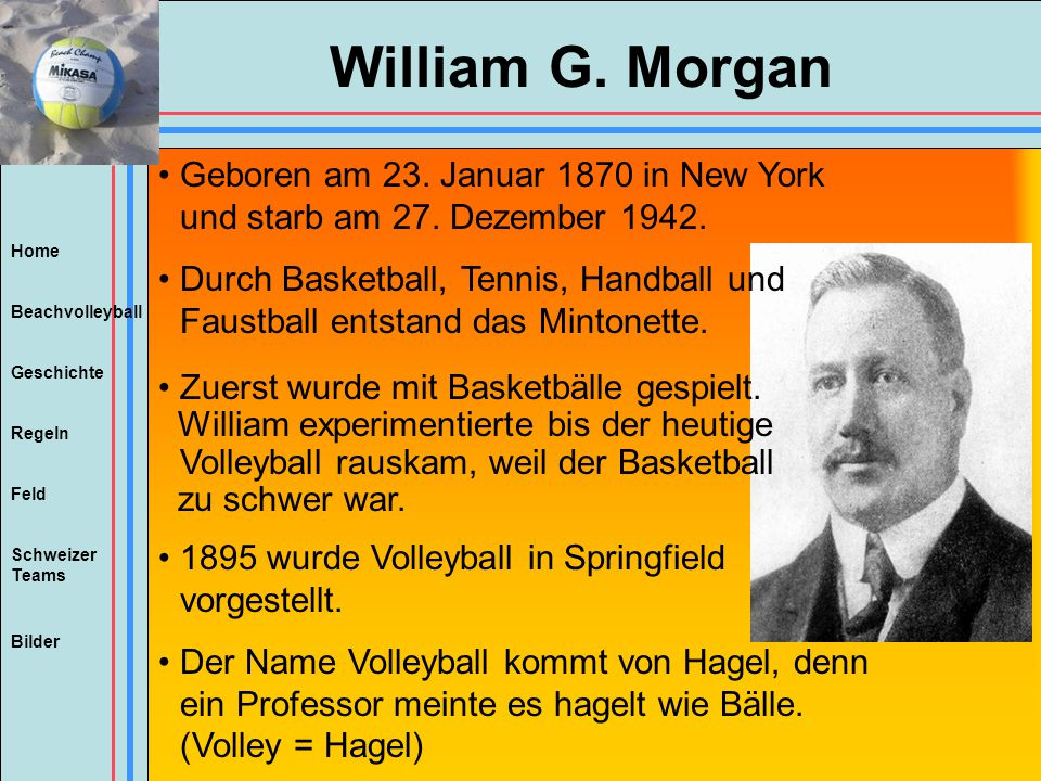 Home Beachvolleyball Regeln Feld Geschichte Schweizer Teams Bilder William G. Morgan Geboren am 23. Januar 1870 in New York und starb am 27. Dezember