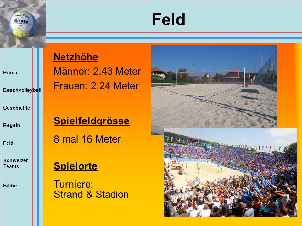 Home Beachvolleyball Regeln Feld Geschichte Schweizer Teams Bilder Feld Netzhöhe Männer: 2.43 Meter Frauen: 2.24 Meter Spielfeldgrösse 8 mal 16 Meter