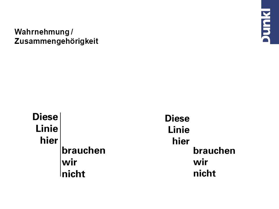 Z. B. Ausrichtung von Textblöcken auf einer Einladung Gestaltgesetze / Das Gesetz der Kontinuität Linien streben danach, sich in der selben Richtung u