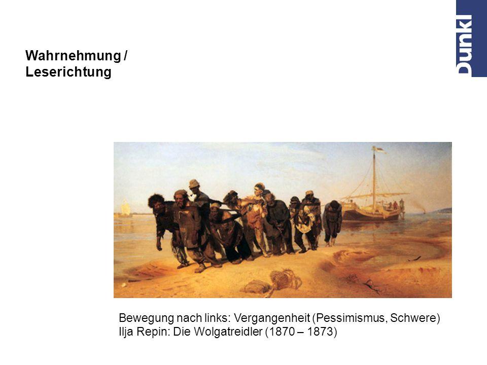 """Bewegung nach rechts: Zukunft (Optimismus) Eugène Delacroix: """"Die Freiheit führt das Volk , 1830 Wahrnehmung / Leserichtung"""