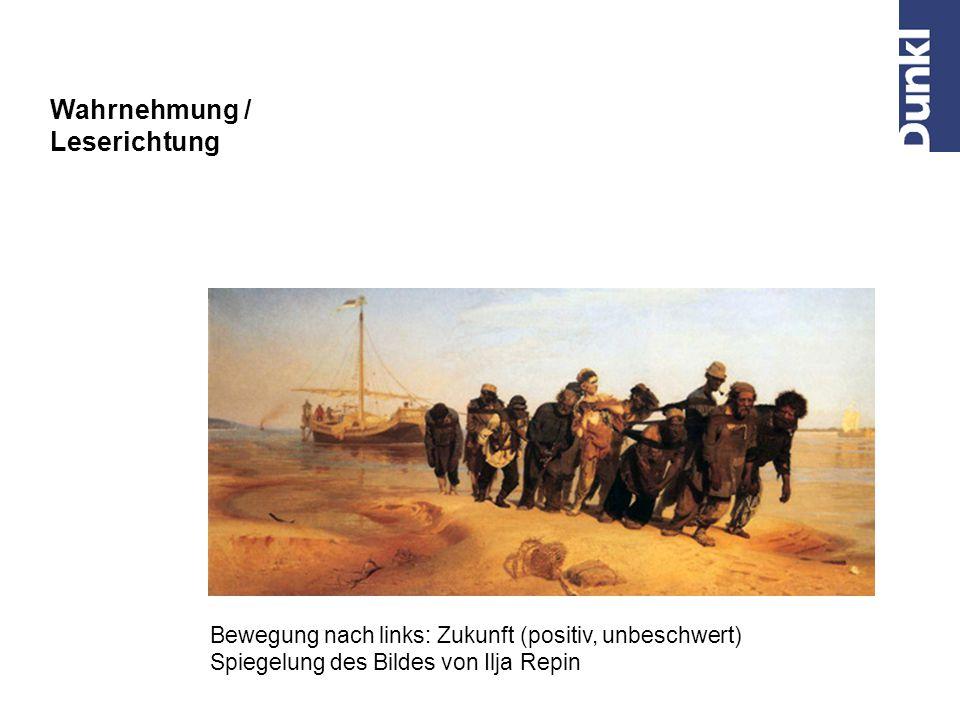 Bewegung nach links: Vergangenheit (Pessimismus, Schwere) Ilja Repin: Die Wolgatreidler (1870 – 1873) Wahrnehmung / Leserichtung