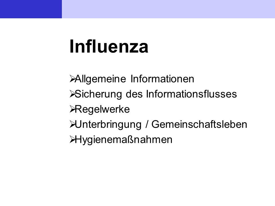 Influenza  Allgemeine Informationen  Sicherung des Informationsflusses  Regelwerke  Unterbringung / Gemeinschaftsleben  Hygienemaßnahmen