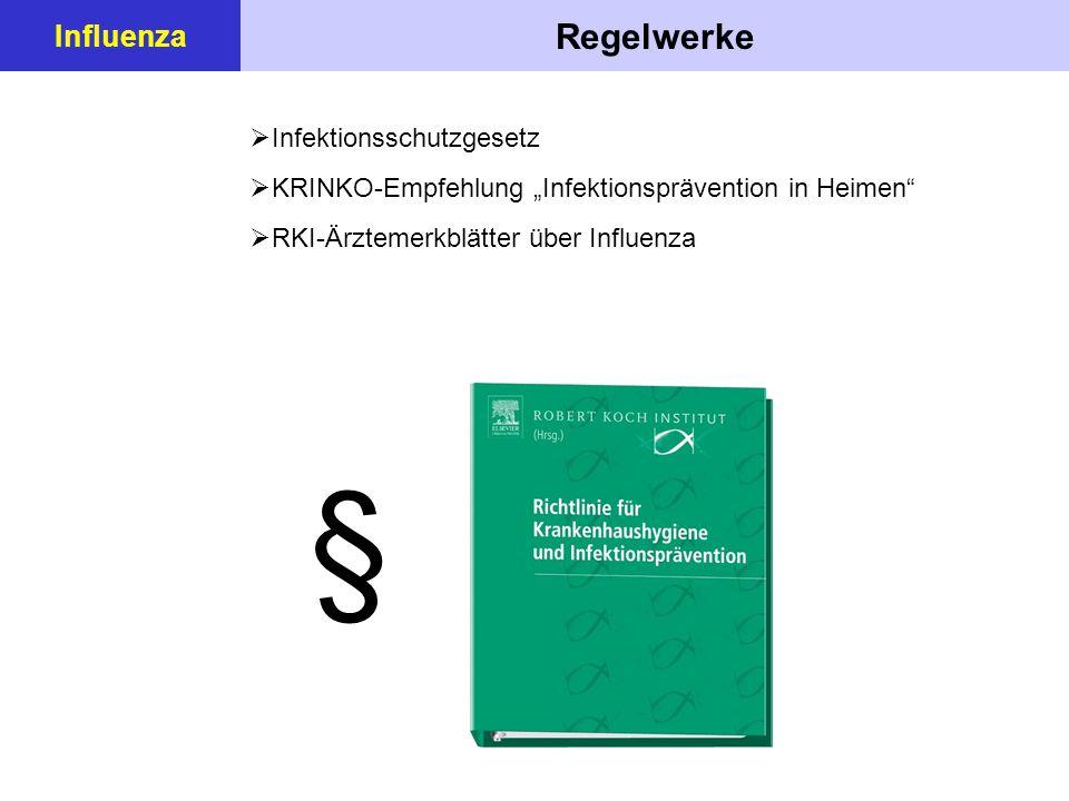 """Regelwerke Influenza  Infektionsschutzgesetz  KRINKO-Empfehlung """"Infektionsprävention in Heimen  RKI-Ärztemerkblätter über Influenza §"""