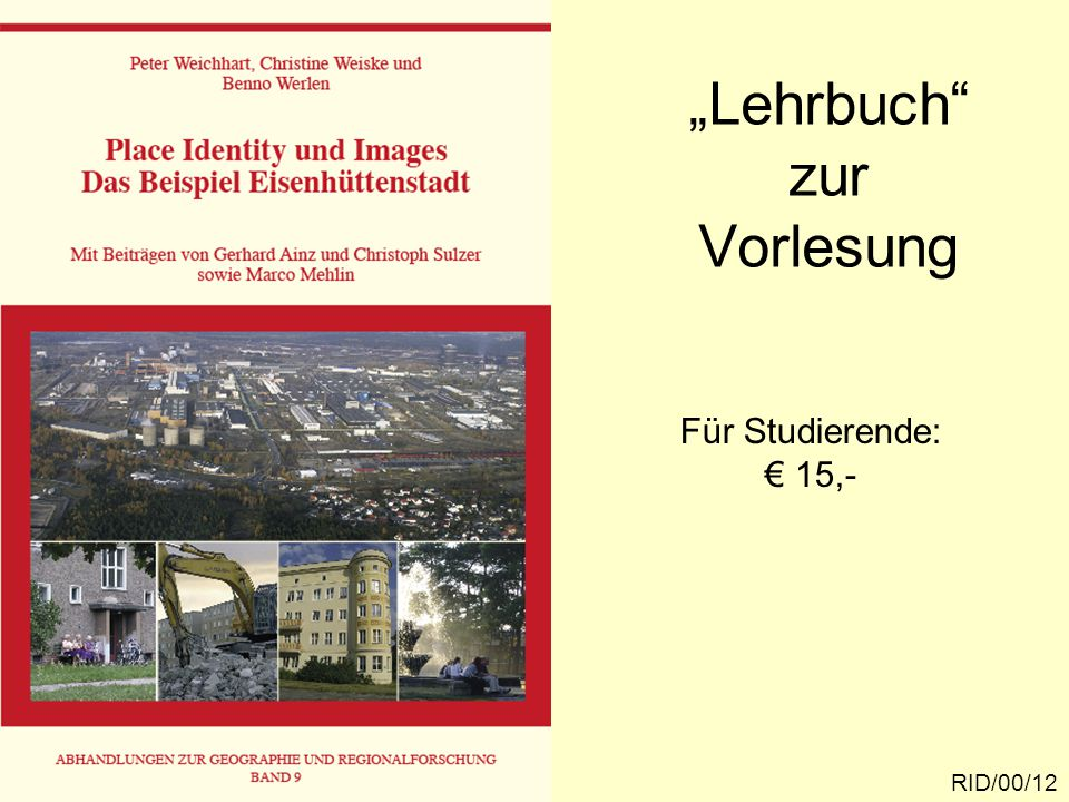 """""""Lehrbuch zur Vorlesung RID/00/12 Für Studierende: € 15,-"""