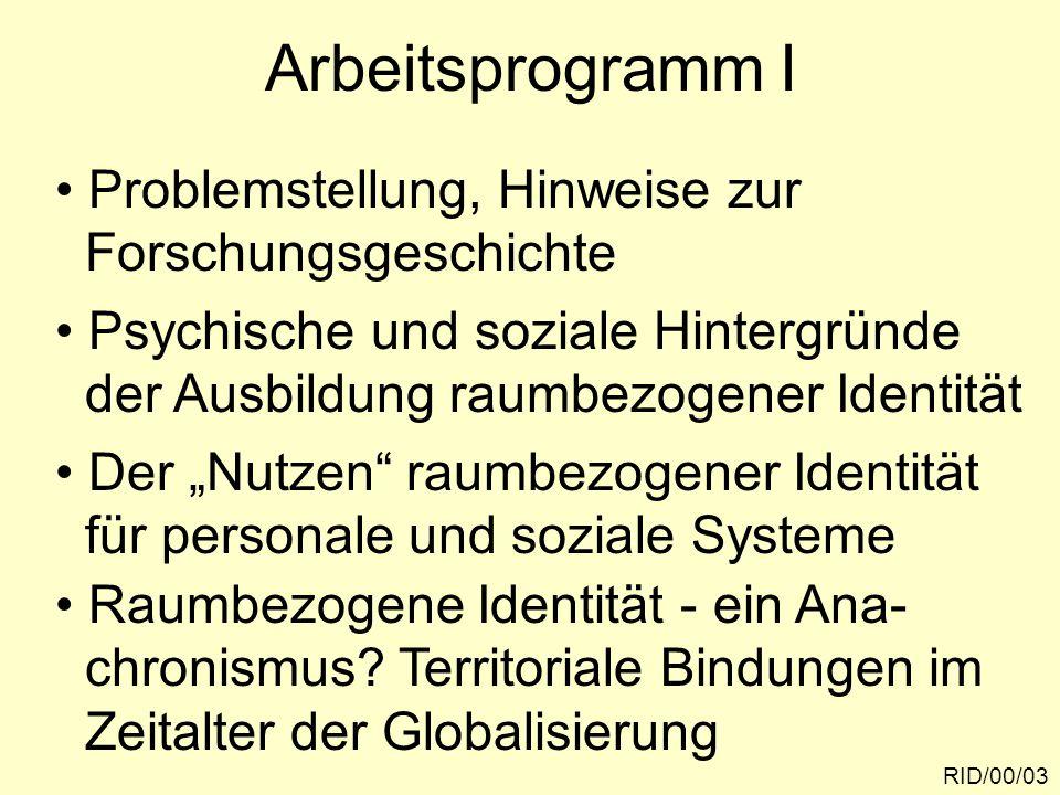 Arbeitsprogramm I RID/00/03 Problemstellung, Hinweise zur Forschungsgeschichte Psychische und soziale Hintergründe der Ausbildung raumbezogener Identi