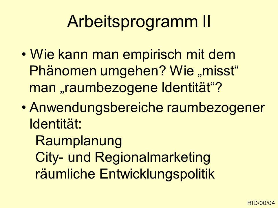 """RID/00/04 Arbeitsprogramm II Wie kann man empirisch mit dem Phänomen umgehen? Wie """"misst"""" man """"raumbezogene Identität""""? Anwendungsbereiche raumbezogen"""