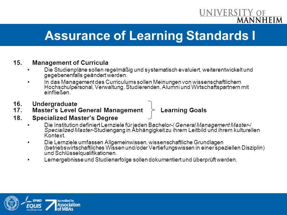 Assurance of Learning Standards I 15.Management of Curricula Die Studienpläne sollen regelmäßig und systematisch evaluiert, weiterentwickelt und gegebenenfalls geändert werden.
