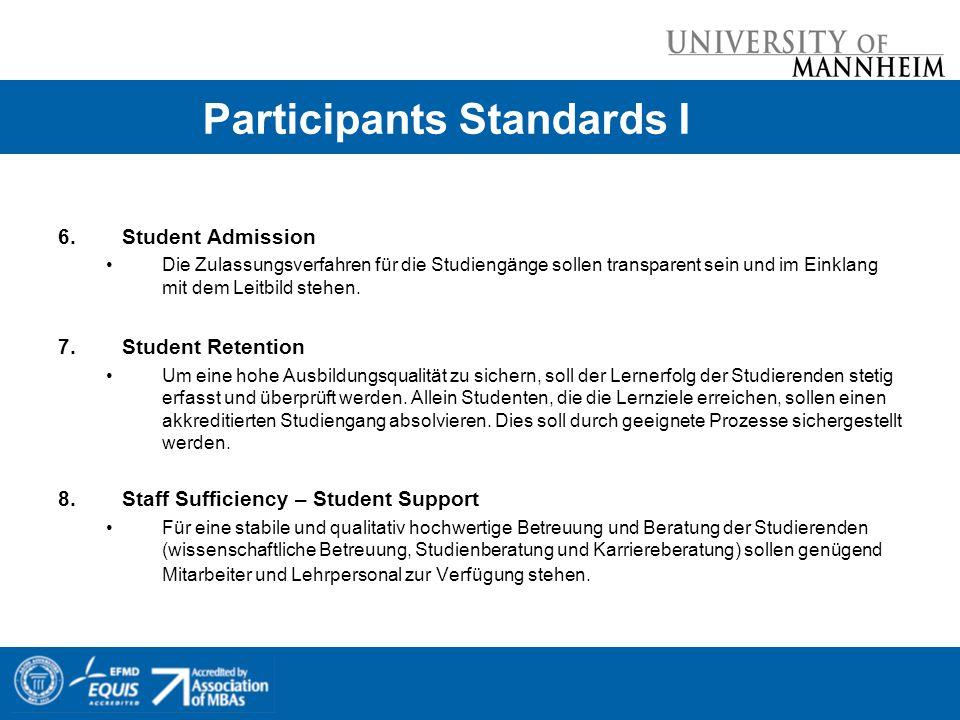 Participants Standards I 6.Student Admission Die Zulassungsverfahren für die Studiengänge sollen transparent sein und im Einklang mit dem Leitbild ste
