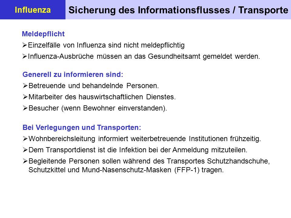 Unterbringung / Gemeinschaftsleben Influenza  Erkrankte Bewohner sind (in Absprache mit dem Gesundheitsamt) möglichst zu isolieren.