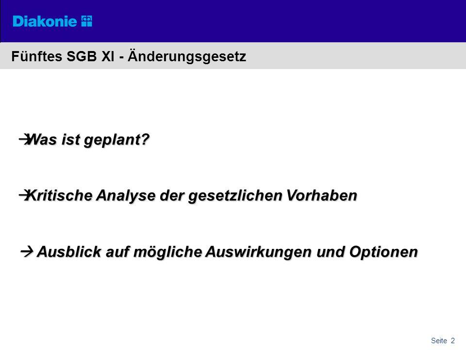 Seite 2 Fünftes SGB XI - Änderungsgesetz  Was ist geplant?  Kritische Analyse der gesetzlichen Vorhaben  Ausblick auf mögliche Auswirkungen und Opt