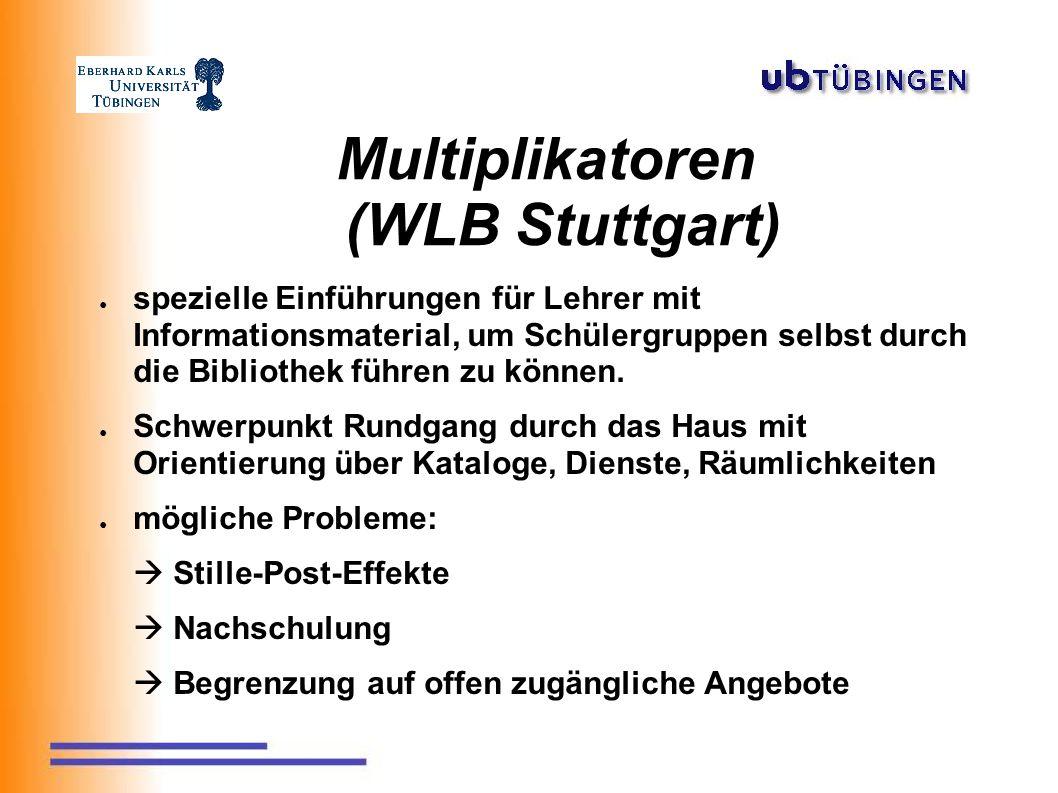 Multiplikatoren (WLB Stuttgart) ● spezielle Einführungen für Lehrer mit Informationsmaterial, um Schülergruppen selbst durch die Bibliothek führen zu können.