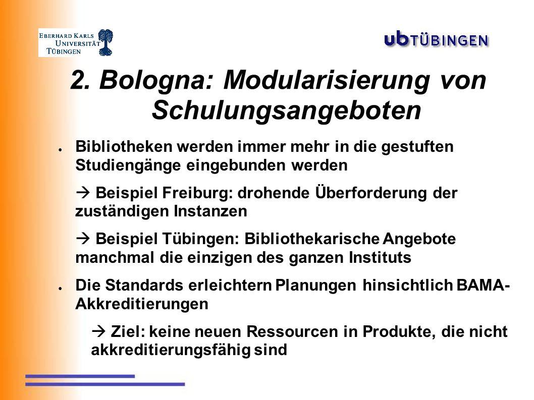 2. Bologna: Modularisierung von Schulungsangeboten ● Bibliotheken werden immer mehr in die gestuften Studiengänge eingebunden werden  Beispiel Freibu