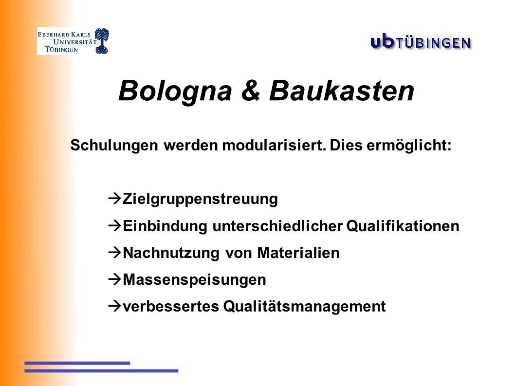 Bologna & Baukasten Schulungen werden modularisiert.