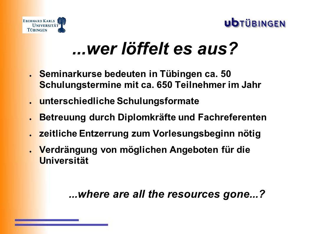 ...wer löffelt es aus. ● Seminarkurse bedeuten in Tübingen ca.