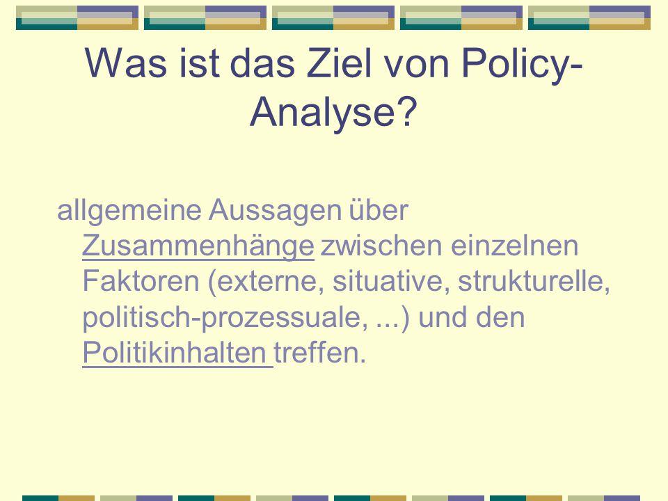 Welche Arten von policy- Studien gibt es.