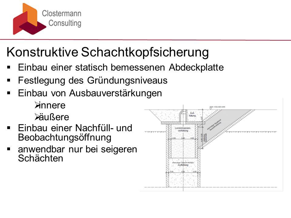 Einbau einer statisch bemessenen Abdeckplatte  Festlegung des Gründungsniveaus  Einbau von Ausbauverstärkungen Konstruktive Schachtkopfsicherung  innere  äußere  Einbau einer Nachfüll- und Beobachtungsöffnung  anwendbar nur bei seigeren Schächten