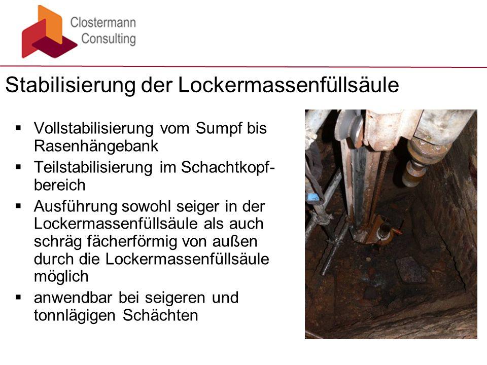  Vollstabilisierung vom Sumpf bis Rasenhängebank  Teilstabilisierung im Schachtkopf- bereich  Ausführung sowohl seiger in der Lockermassenfüllsäule
