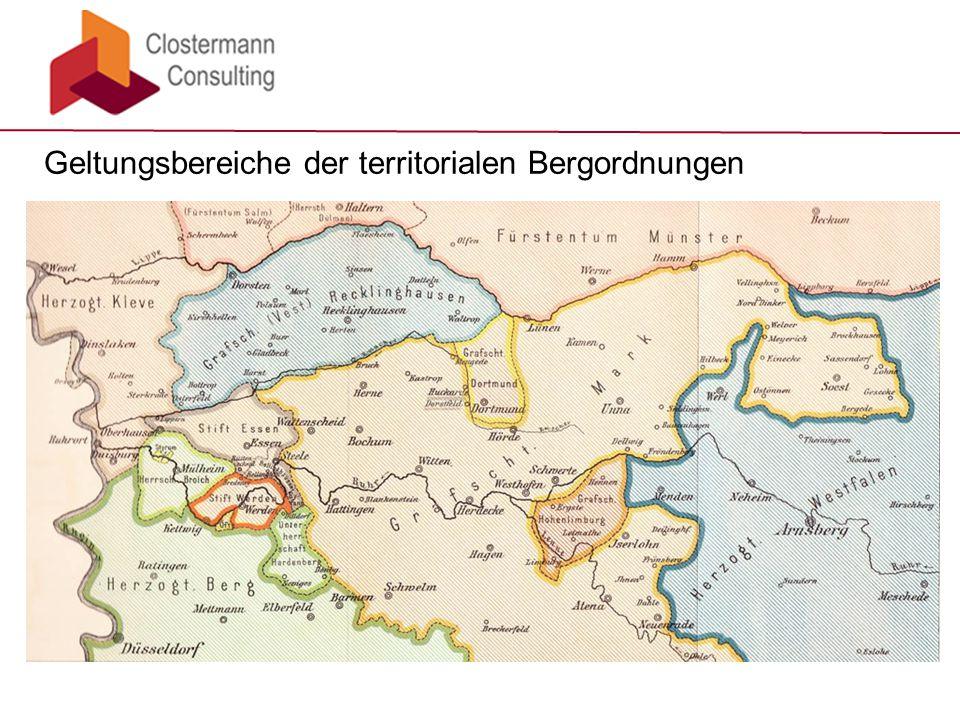 Geltungsbereiche der territorialen Bergordnungen