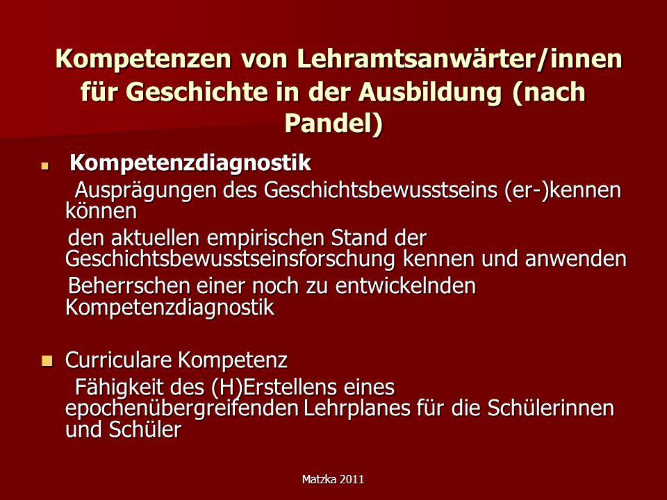 Matzka 2011 Kompetenzen von Lehramtsanwärter/innen für Geschichte in der Ausbildung (nach Pandel) Kompetenzen von Lehramtsanwärter/innen für Geschicht