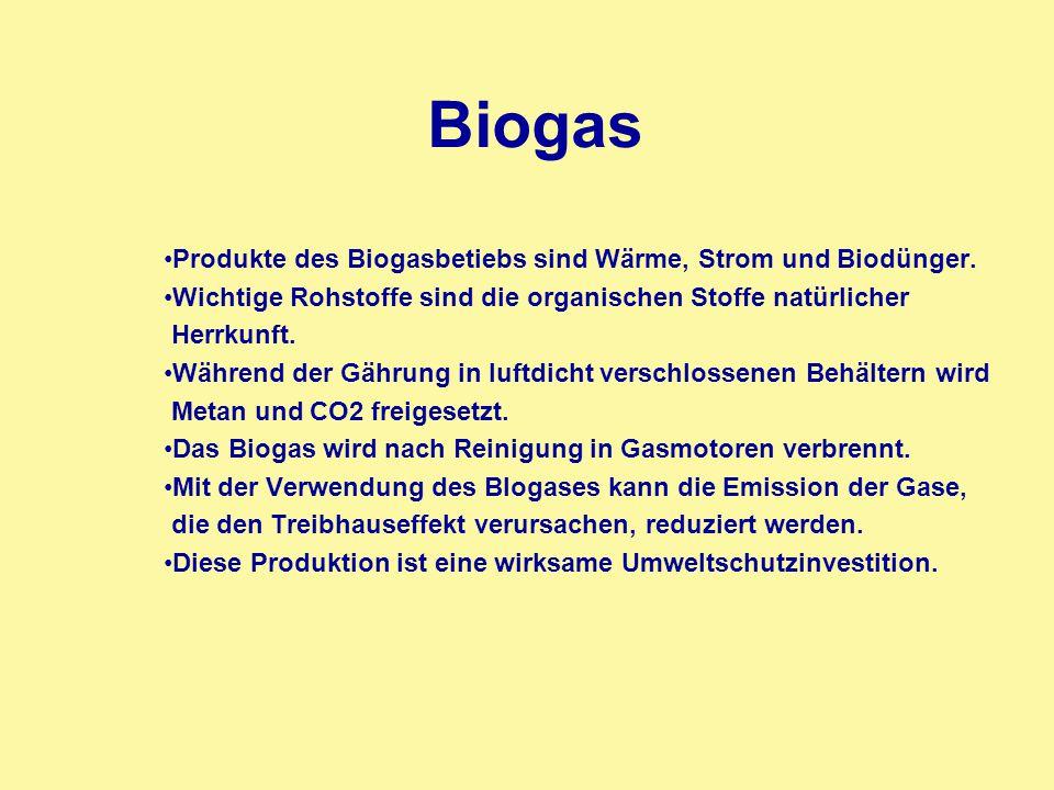 Biogas Produkte des Biogasbetiebs sind Wärme, Strom und Biodünger. Wichtige Rohstoffe sind die organischen Stoffe natürlicher Herrkunft. Während der G