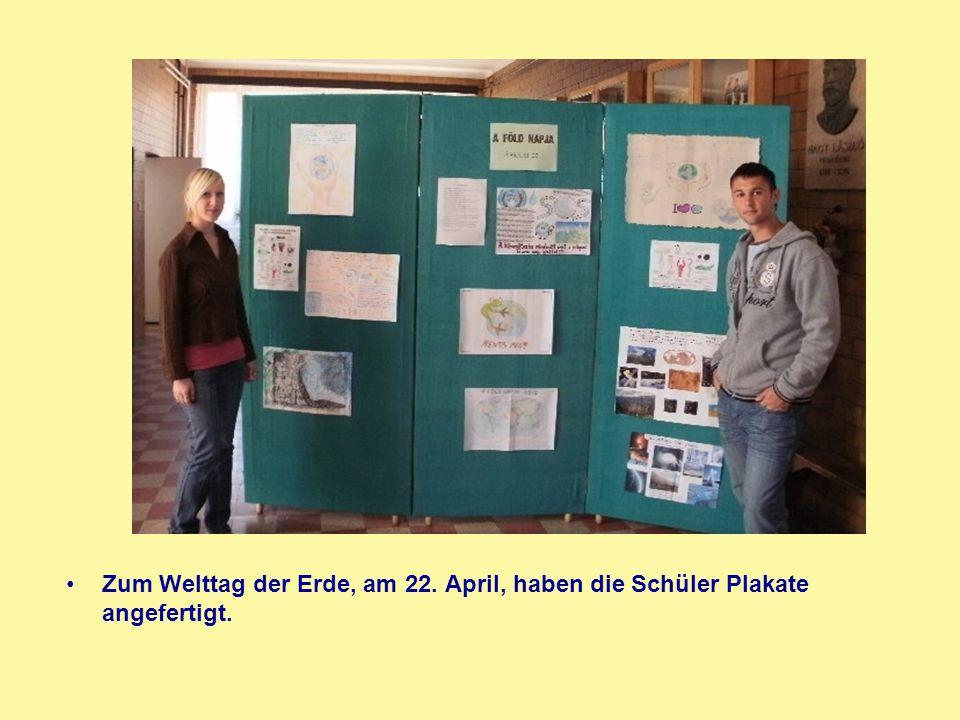 Zum Welttag der Erde, am 22. April, haben die Schüler Plakate angefertigt.