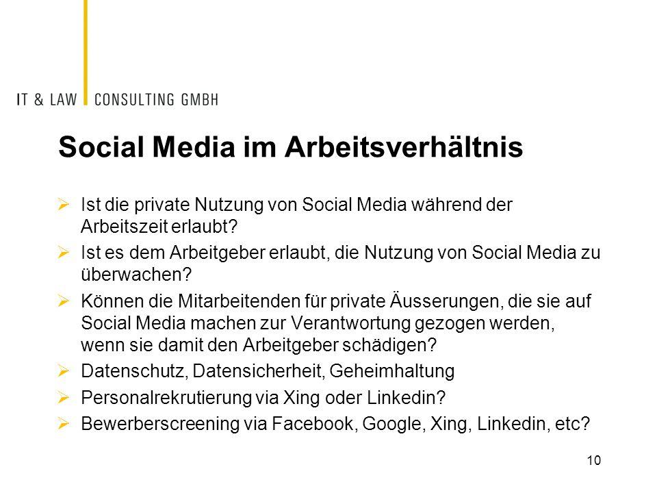 Social Media im Arbeitsverhältnis  Ist die private Nutzung von Social Media während der Arbeitszeit erlaubt?  Ist es dem Arbeitgeber erlaubt, die Nu
