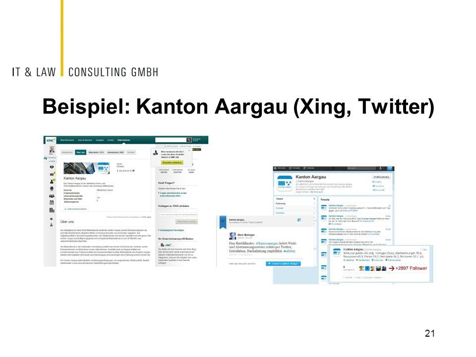 Beispiel: Kanton Aargau (Xing, Twitter) 21